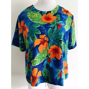 Maggie Sweet Floral Hawaiian Blouse Large